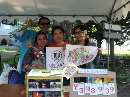 The 100 Yen for Nepal booth manned by HUISA Officers and representatives from HUNSA during the Hokudaisai 2015.